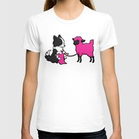 border collie T-shirts featuring Border Collie Knitting by Diony Cook Rouse