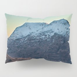 Sunset on a Snow Covered Mountain Photography Print Pillow Sham