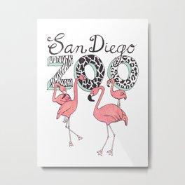 Zoo Flamingos Metal Print