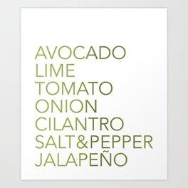 Guacamole Recipe Typography Art Print