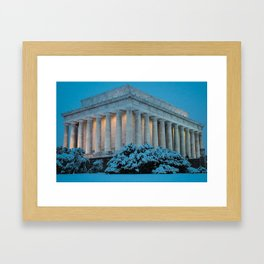 Lincoln Memorial and Snow at Twilight. Framed Art Print