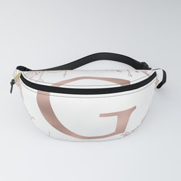 Letter G Rose Gold Pink Initial Monogram Fanny Pack