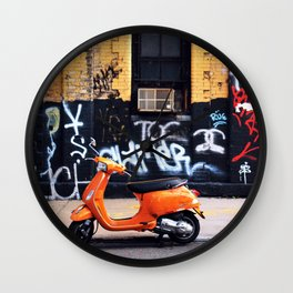 Orange Scooter Wall Clock