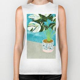 Variegated Monstera #tropical #painting #nature Biker Tank