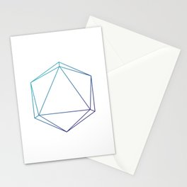D20 Roleplaying Die Icosahedron Line-Art Blue/Purple Stationery Cards