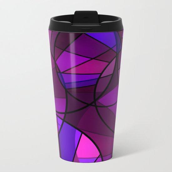 Colorful purple and blue pattern . Metal Travel Mug