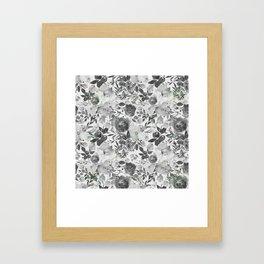 Black gray white hand painted floral stripes pattern Framed Art Print