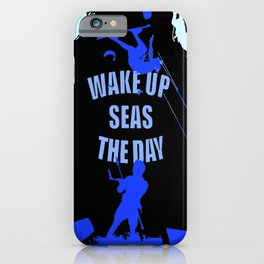 Wake Up Seas The Day Kiteboarder Royal Blue iPhone Case