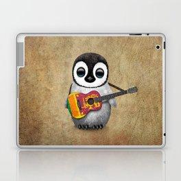 Baby Penguin Playing Sri Lankan Flag Guitar Laptop & iPad Skin