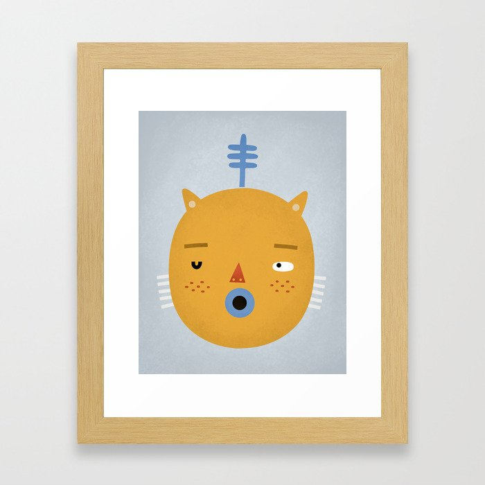 Cat with Fern Framed Art Print