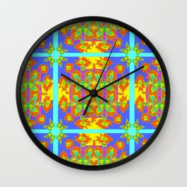 BOHEMIAN STYLE QUILTED TURQUOISE BUTTERFLIES & FLOWERS Wall Clock