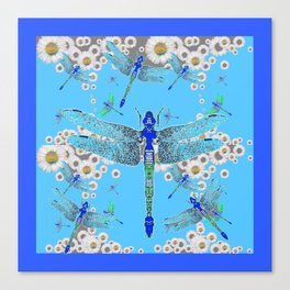 BLUE DRAGONFLIES LILAC WHITE DAISY FLOWERS  ART Canvas Print