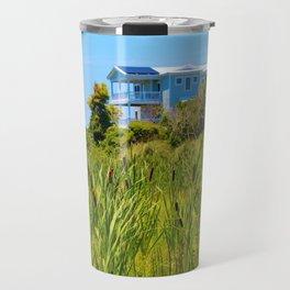 Beach House With Cattails Travel Mug