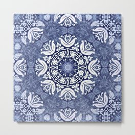 Blue snow pattern Metal Print