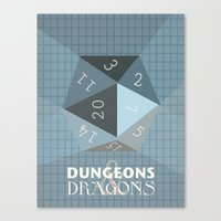 dungeons and dragons Canvas Prints featuring Dungeons & Dragons Die by Pan and Scan