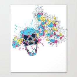 Skull Flower Splatter Canvas Print