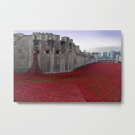 Tower of London Red Poppies England Metal Print