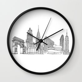 New York City by the Downtown Doodler Wall Clock