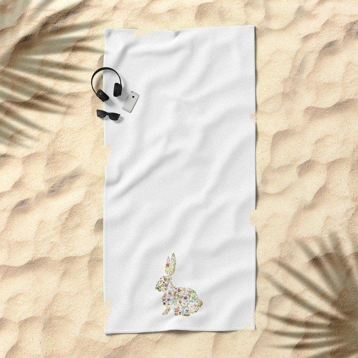 Springtime Flower Bunny Beach Towel