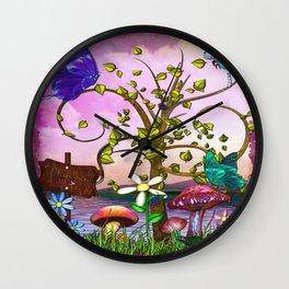 Whimsey Gardens Fantasy Art Wall Clock