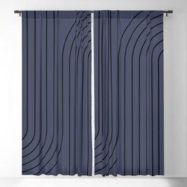 Minimal Line Curvature - Deep Blue & Black Blackout Curtain