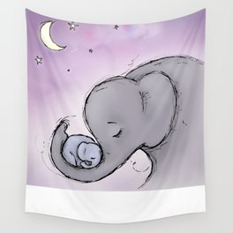 Goodnight Elephants Wall Tapestry