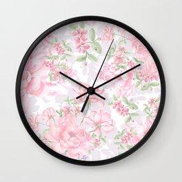 Vintage Peony Pattern Wall Clock