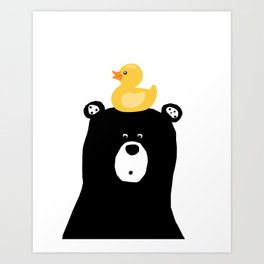 Bear with duck, bathroom art, woodland decor, kids poster Art Print