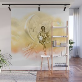 Wonderful fairy on a moon with dove Wall Mural