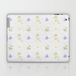 Lilac green hand painted floral leaves pattern Laptop & iPad Skin