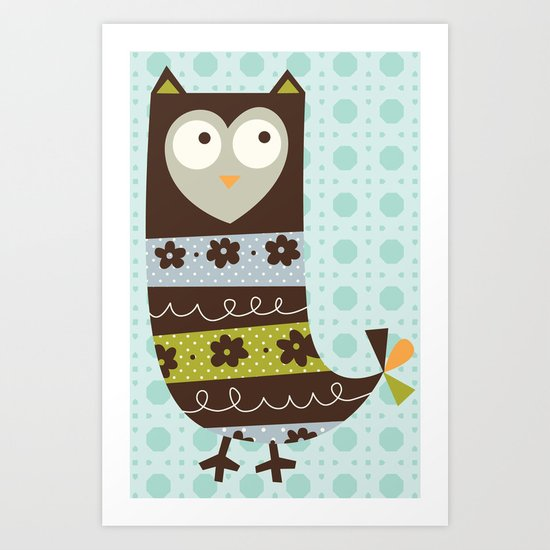 Brown Whimsy Owl Art Print