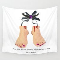 feet Wall Tapestries featuring Useless Feet of Frida Kahlo by Xchange Art Studio