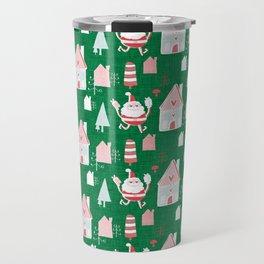 Santa is in Town Green #Holiday #Christmas Travel Mug