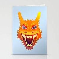 charizard Stationery Cards featuring Flaming Dragon by Head Glitch