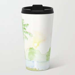Palm tree in a sunset Travel Mug