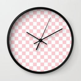 Large White and Light Millennial Pink Pastel Color Checkerboard Wall Clock