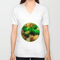 minerals V-neck T-shirts featuring EMERALDS by Catspaws