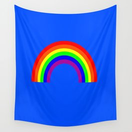 Rainbow on Blue Wall Tapestry