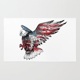 Watercolor bald eagle symbol of the United States Rug