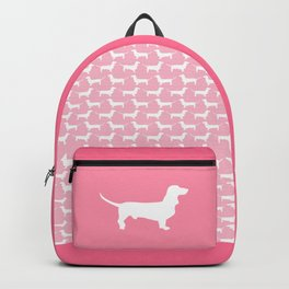 Pink Dachshund Silhouette Pattern Backpack