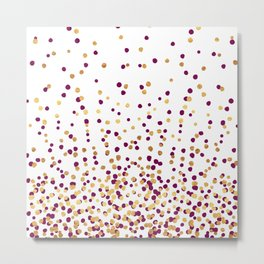 Floating Dots - Wine and Gold on White Metal Print
