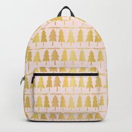 Luxe Rose Gold Christmas Tree Pattern, Seamless Vector Background Backpack