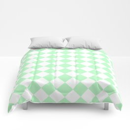 Diamonds - White and Mint Green Comforters