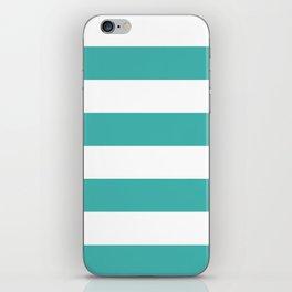 Wide Horizontal Stripes - White and Verdigris iPhone Skin