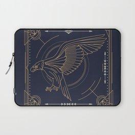 Eagle Full Size Side Gold White on Black Background Laptop Sleeve