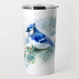 Watercolor Blue Jay Travel Mug