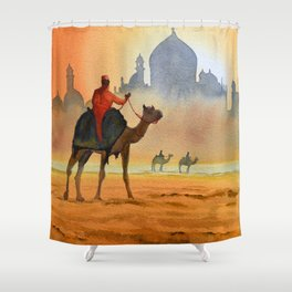 Camel Riders Alongside the Taj Mahal Shower Curtain