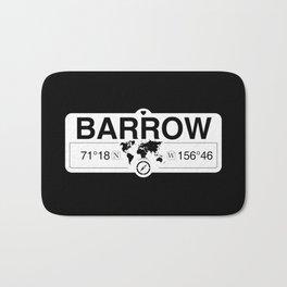 Barrow Alaska GPS Coordinates Map Artwork with Compass Bath Mat