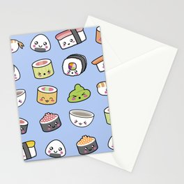 Happy kawaii sushi pattern Stationery Cards