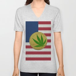 In Weed We Trust - Coin on USA flag Unisex V-Neck